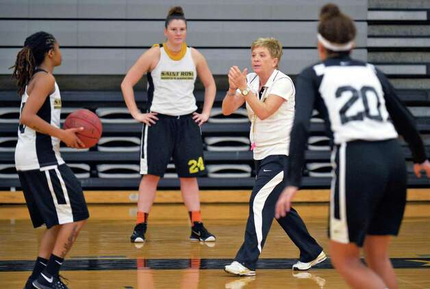 College of Saint Rose women's basketball head coach Karen Haag, second from right, runs a team practice Thursday Nov. 5, 2015 in Albany, NY. .(John Carl D'Annibale / Times Union) Photo: John Carl D'Annibale / 00034103A