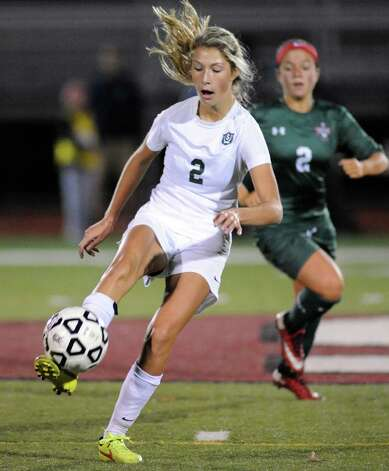 Schalmont's Sydnee Metzold brings the ball down the field during their Class B girls' regional soccer game against Marcellus on Tuesday Nov. 3, 2015 in Stillwater, N.Y. Shalmont won the contest 2-1. (Michael P. Farrell/Times Union) Photo: Michael P. Farrell / 00034036A