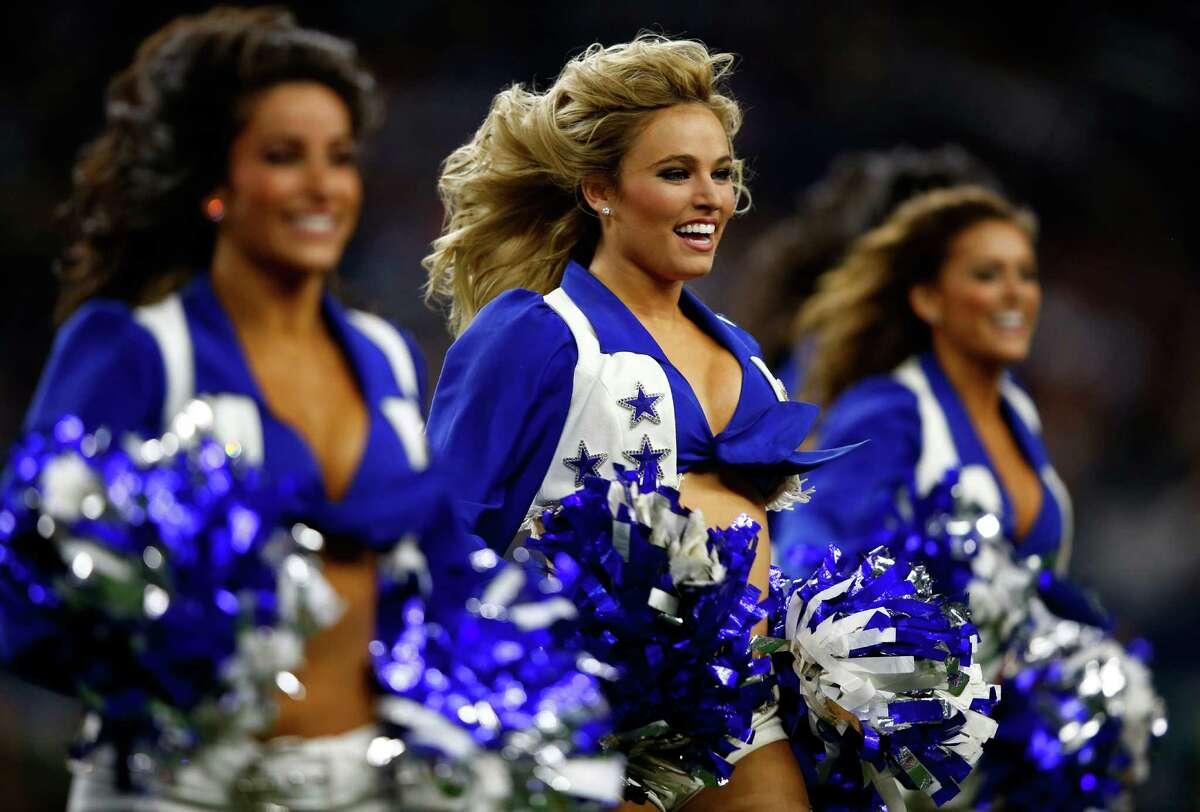 ARLINGTON, TX - NOVEMBER 08: Dallas Cowboys cheerleaders perform during the game against the Philadelphia Eagles on November 8, 2015 in Arlington, Texas.
