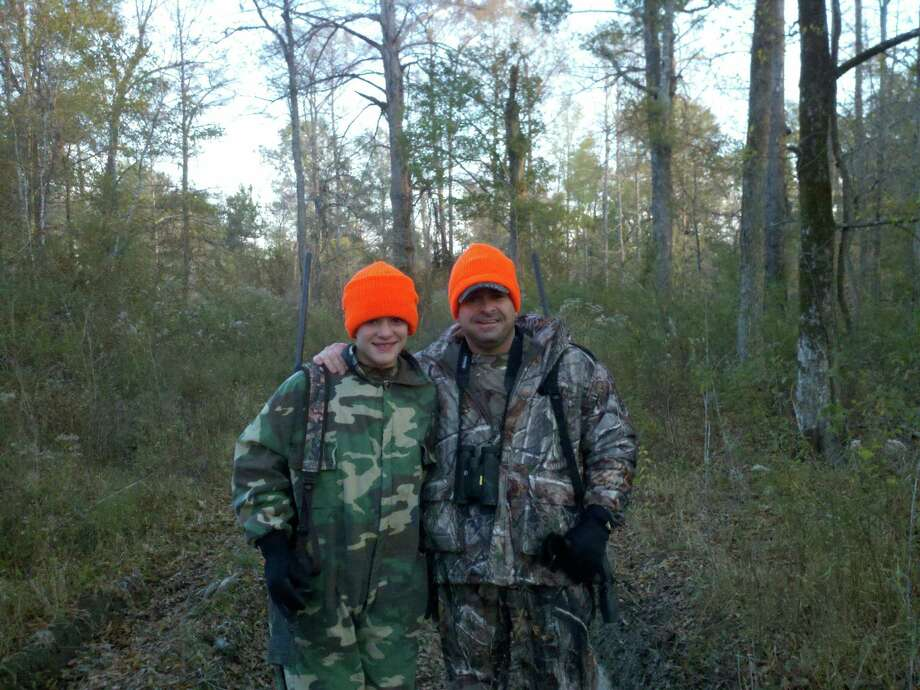 Tanner and father Joey Hilliard hunting together on their deer lease in Newton Co. Photo: Joey Hilliard