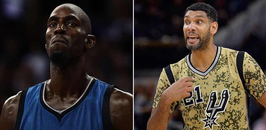 Kevin Garnett and Tim Duncan Photo: Stacy Revere, AP/Getty / 2015 Stacy Revere