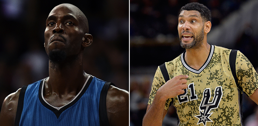 Kevin Garnett Pays Tribute To Tim Duncan With Throwback
