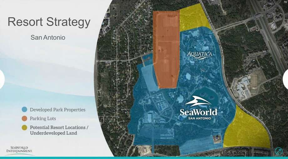 A slide shown during SeaWorld's investor presentation on Monday, showing company-owned land that might be used to develop a resort. Photo: SeaWorld Entertainment
