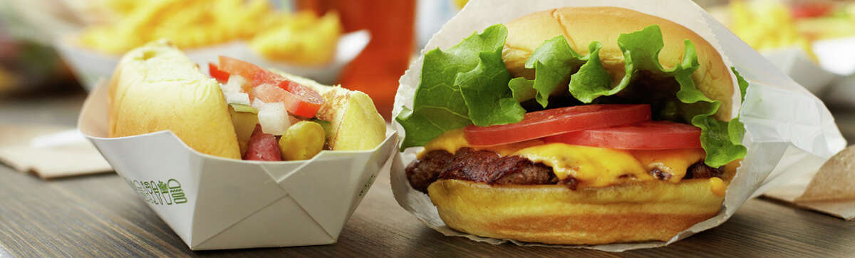 The Shake Shack is known for its all-natural Angus beef burgers and crinkle-cut Yukon fries.
