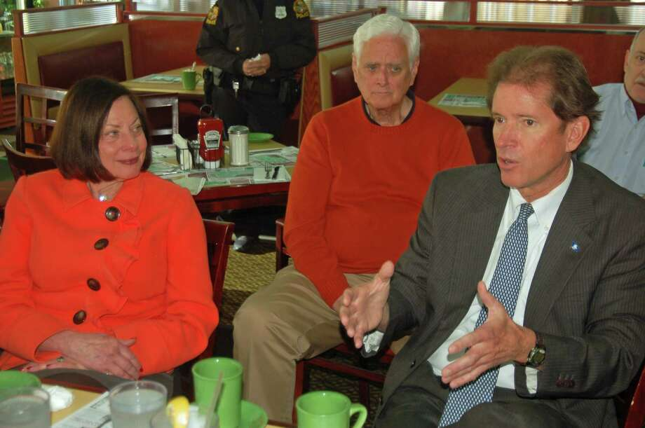 State Sen. L. Scott Frantz (R-36th), at right, spoke with a group of close to 30 residents at the coffee Monday, including YWCA Greenwich President and CEO Adrianne Singer, Selectman John Toner and Christopher Semmes. Photo: Ken Borsuk / Hearst Connecticut Media / Greenwich Time