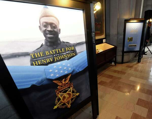 An exhibit posthumously honoring Sgt. Henry Johnson, an Albany resident whose World War I heroism was recognized with the award of the Medal of Honor this year was opened in the War Room at the State Capitol  Monday morning Oct. 9, 2015 in Albany, N.Y.  (Skip Dickstein/Times Union) Photo: SKIP DICKSTEIN / 10034142A
