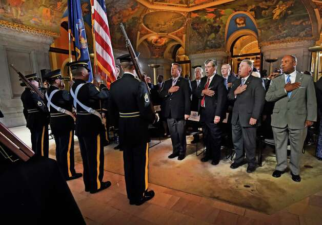 The New York National Guard Color Guard posts colors as an exhibit posthumously honoring Sgt. Henry Johnson opened officially at the State Capitol Monday morning Oct. 9, 2015 in Albany, N.Y.  Sgt. Johnson, an Albany resident was a World War I hero was recognized this year with the award of the Medal of Honor.  (Skip Dickstein/Times Union) Photo: SKIP DICKSTEIN / 10034142A