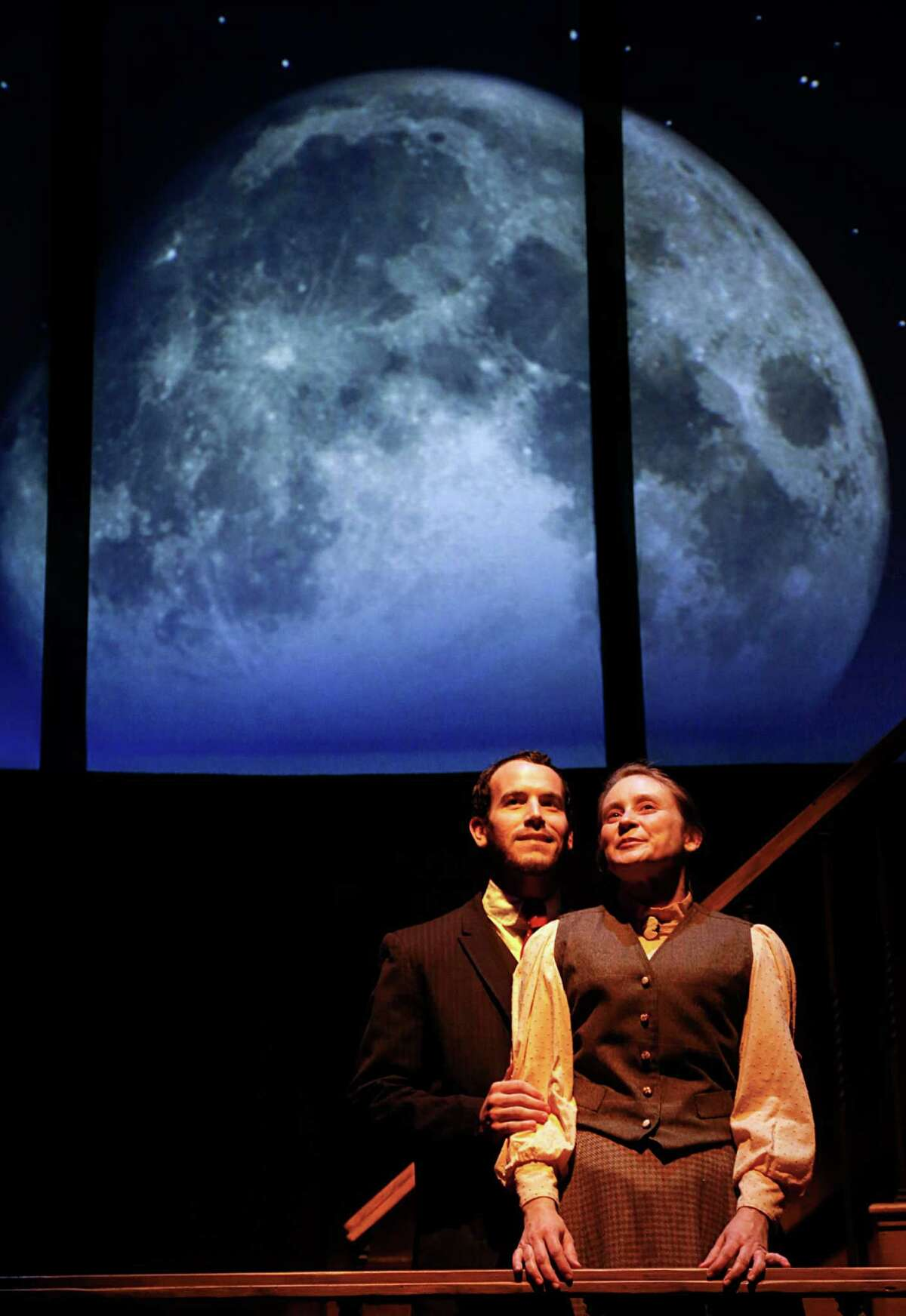 """James Monaghan left, as """"Peter Shaw"""", and Shannon Emerick right, as """"Henrietta Leavitt"""" during Main Street Theater's production of the play Silent Sky"""