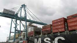 The MSC Oriane container ship is shown at the Port of Houston Authority's Barbours Cut Container Terminal, 1515 E. Barbours Cut Boulevard,  Tuesday, Sept. 29, 2015, in Houston. It is the first deeper draft container ship to go to the  Barbours Cut Container Terminal since dredging was competed to allow vessels with a 45-foot operating draft. ( Melissa Phillip /Houston Chronicle )