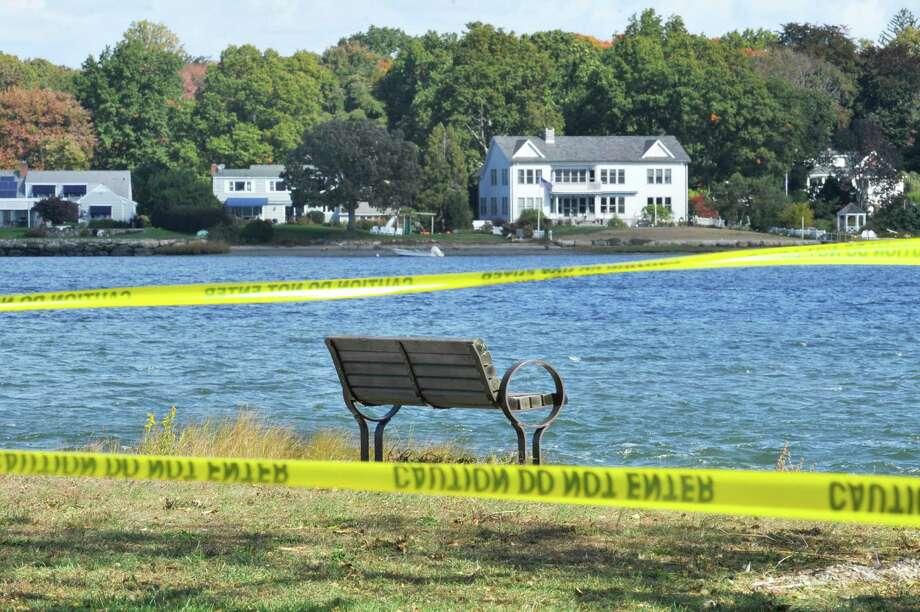 Crime scene tape marked where a woman was raped at Cove Island Park on Thursday, Oct. 16, 2015. Photo: Michael Cummo / Hearst Connecticut Media / Stamford Advocate