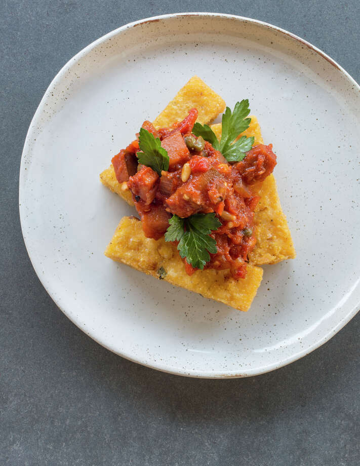 "Fig Caponata with Polenta Fries is featured in ""Crossroads."" Photo: Lisa Romerein / © 2014 Lisa Romerein"