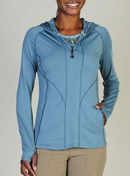 the ExOfficio Sol Cool Hooded Zippy — a long-sleeved zip-up shirt that's lightweight and also has a rating of UPF 50+.