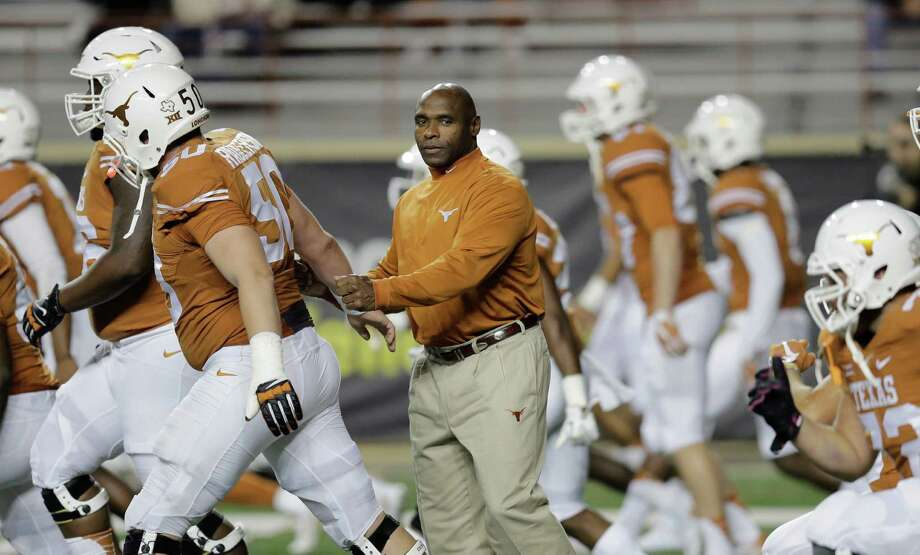 Texas head coach Charlie Stron watches over his team before the game against Kansas. Photo: Eric Gay /Associated Press / AP