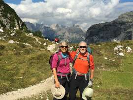 Carolyn and Peter Lehman, of Arcata, Calif., on the Alta Via (High Route) #1 at Tissi Pass in the Italian Dolomites.