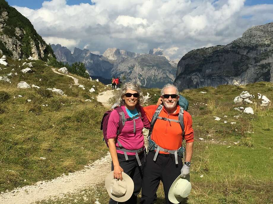 Carolyn and Peter Lehman, of Arcata, Calif., on the Alta Via (High Route) #1 at Tissi Pass in the Italian Dolomites. Photo: Courtesy Carolyn Lehman