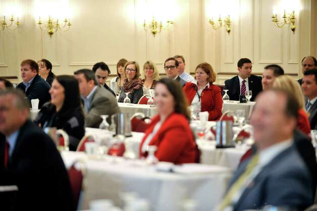 Attendees at the first Capital Region Extension of VOWS listen to a speaker about searching for a job at The Desmond on Monday, Nov. 9, 2015, in Colonie, N.Y.  The daylong event brings veterans and employers together.  (Paul Buckowski / Times Union) Photo: PAUL BUCKOWSKI / 00034144A