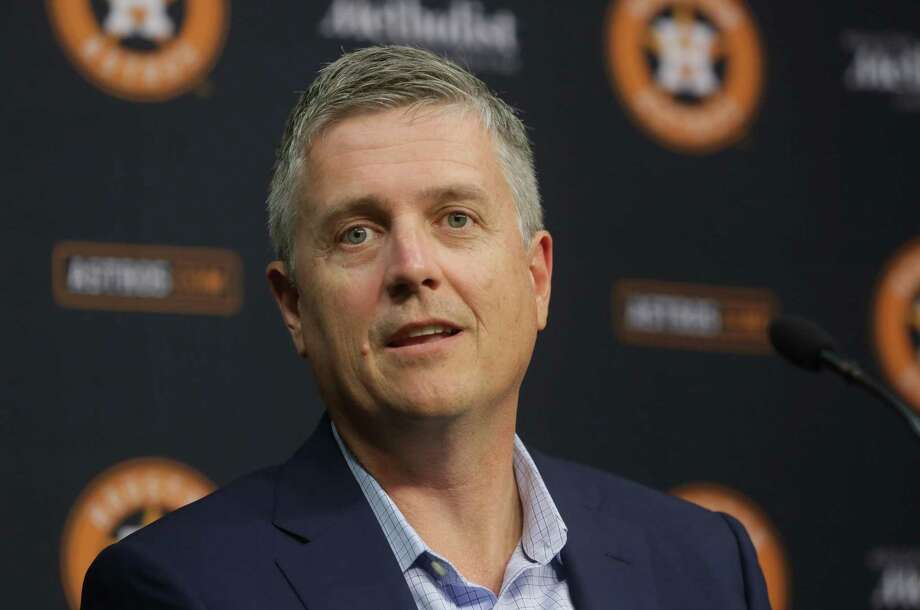Jeff Luhnow, general manager of the Houston Astros, speaks during the season-ending press conference at Minute Maid Park, Thursday, Oct. 15, 2015, in Houston. The Astros were eliminated from the playoffs the night before after losing to the Kansas City Royals in game five of the ALDS.  ( Jon Shapley / Houston Chronicle ) Photo: Jon Shapley, Staff / © 2015  Houston Chronicle