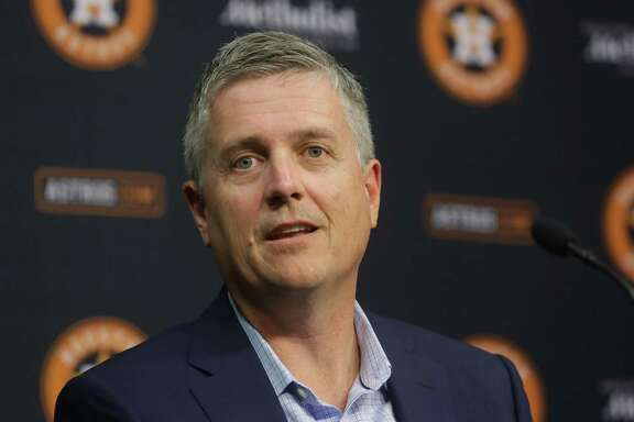 Jeff Luhnow, general manager of the Houston Astros, speaks during the season-ending press conference at Minute Maid Park, Thursday, Oct. 15, 2015, in Houston. The Astros were eliminated from the playoffs the night before after losing to the Kansas City Royals in game five of the ALDS.  ( Jon Shapley / Houston Chronicle )