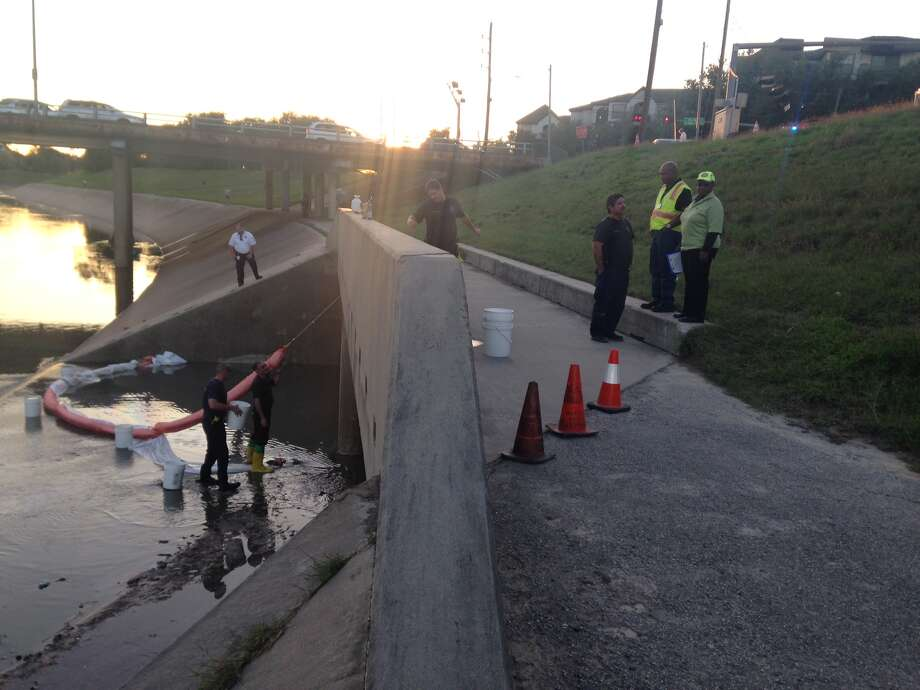 Houston Fire Department received a call about 4 p.m. Monday from a concerned biker who said he smelled something with a gaseous odor near the bayou. Photo: Jessica Hamilton