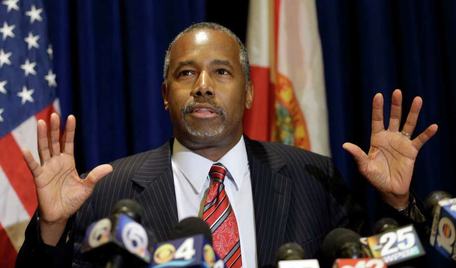 """Republican presidential candidate Ben Carson speaks to reporters during a news conference before the Black Republican Caucus of S. Florida """"Diamonds & Ice"""" Scholarship gala, Friday, Nov. 6, 2015, in Palm Beach Gardens, Fla. (AP Photo/Alan Diaz) Photo: Alan Diaz, STF / Associated Press / AP"""