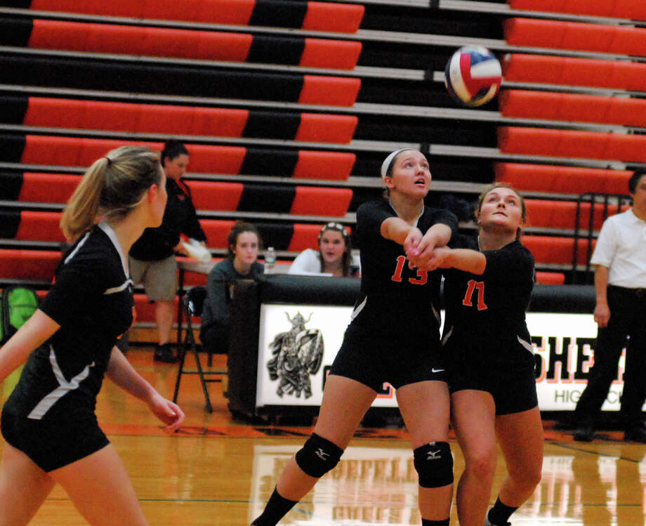 Shelton's Megan Kreitler, left, and Victoria Demko go for a ball the Gaels' 3-0 loss to Staples Monday in the Class LL state tournament. Photo: / Ryan Lacey /Staff Photo / Westport News Contributed