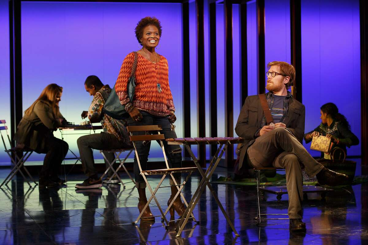 """Kate (LaChanze, left) and Lucas (Anthony Rapp) are the best friends who influence Elizabeth's choice of different life paths in """"If/Then"""" If/Then National Theatre Cast List: Idina Menzel LaChanze Anthony Rapp James Snyder Jerry Dixon Jenn Colella Jason Tam Tamika Lawrence Joe Cassidy Miguel Cervantes Curtis Holbrook Stephanie Klemons Tyler McGee Ryann Redmond Joe Aaron Reid Ann Sanders Production Credits: Michael Greif (Direction) Larry Keigwin (Choreography) Mark Wendland (Scenic Design) Emily Rebholz (Costume Design) Kenneth Posner (Lighting Design) Brian Ronana (Sound Design) Carmel Dean (Musical Direction) Tom Kitt and Michael Starobin (Orchestrations) Other Credits: Lyrics by: Brian Yorkey Music by: Tom Kitt Book by: Brian Yorkey"""