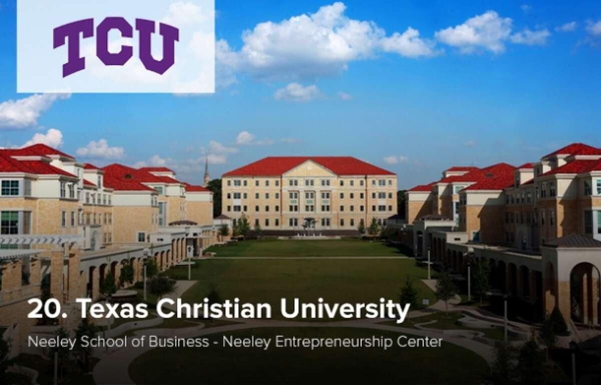 No. 20 undergraduate school for entrepreneurship studies Texas Christian University According to The Princeton Review