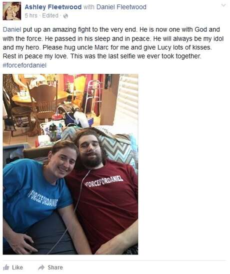 "On Tuesday morning, Nov. 10, 2015, Ashley Fleetwood, the wife of Daniel Fleetwood, announced the death of her husband on Facebook. The terminally-ill ""Star Wars"" fan made headlines for seeing the upcoming flick ""The Force Awakens"" before he died with the help of a social media campaign. (Source: Facebook)"
