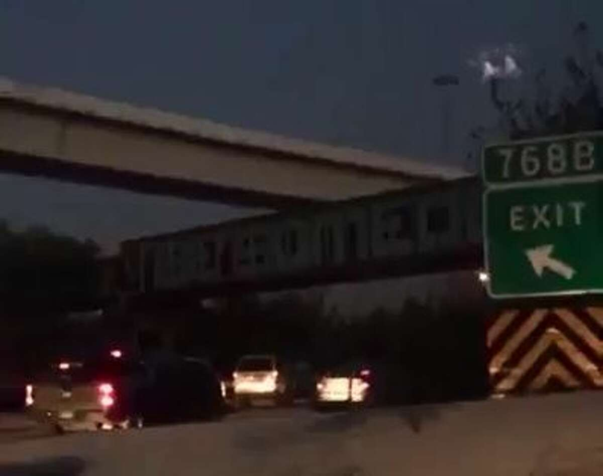 A screenshot from a Twitter video posted by @lm_Raddd shows white lights that some say indicate a UFO over southbound Interstate 45 approaching downtown Houston, Nov. 9, 2015.
