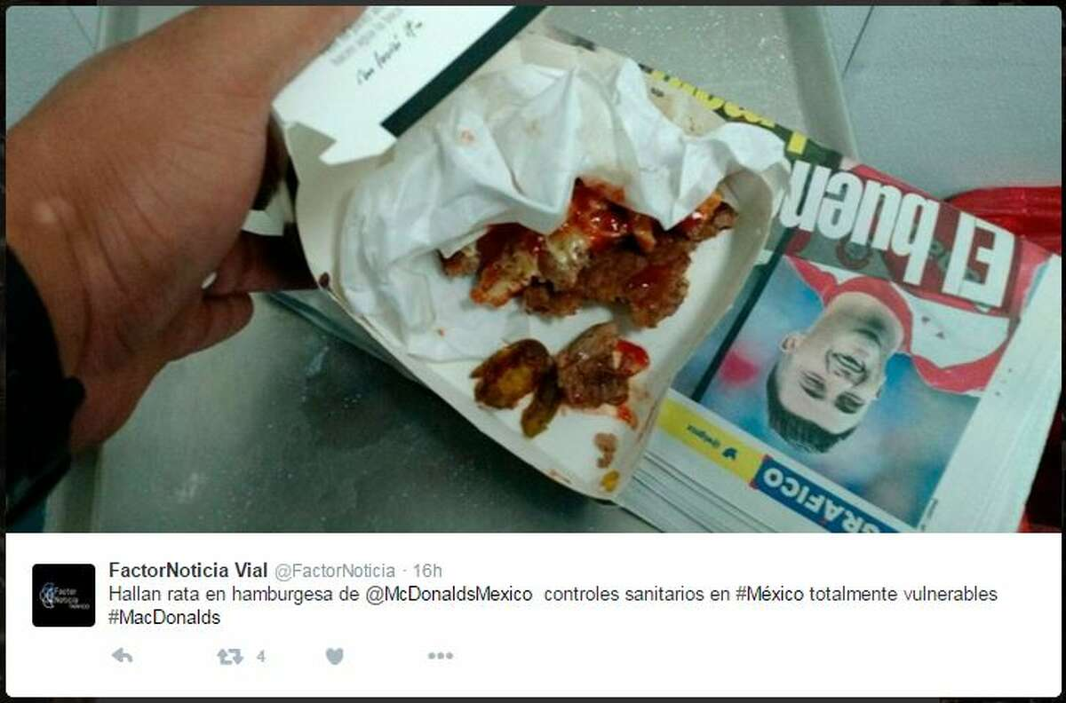 A customer at a McDonald's in Mexico claims that a rat's head was inside of his hamburger.