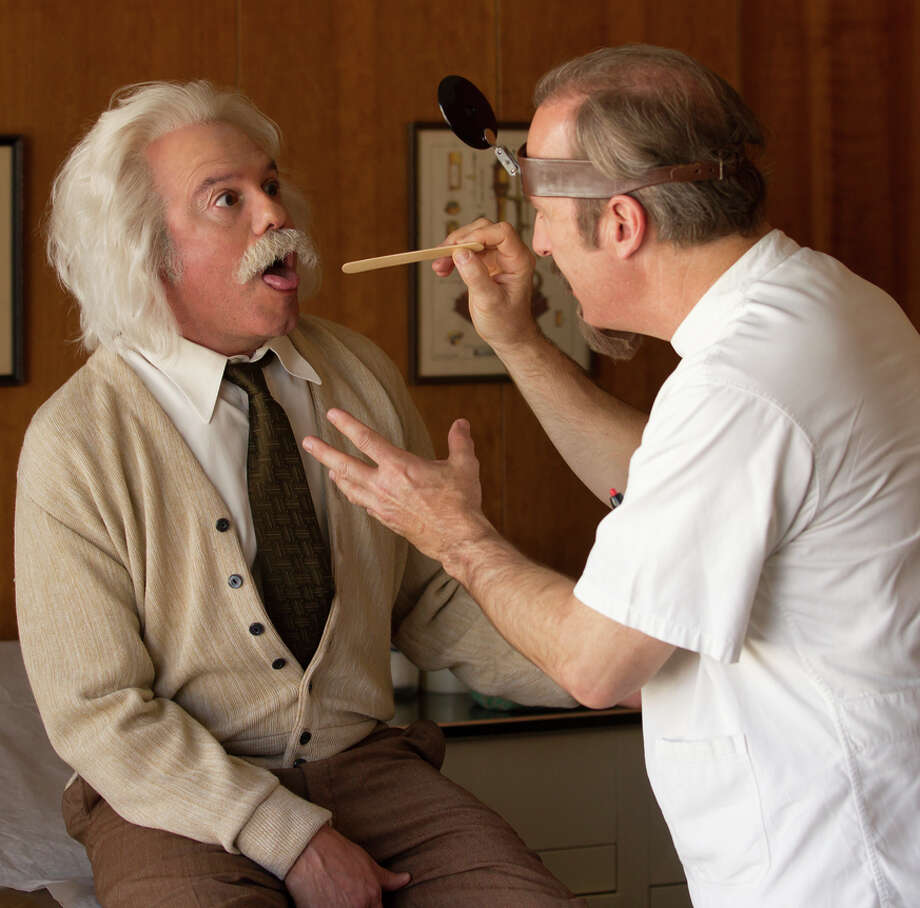 """Bob Odenkirk (right) examines David Cross in a sketch from """"With Bob and David."""" Photo: Saeed Adyani/Netflix / Saeed Adyani / Netflix"""