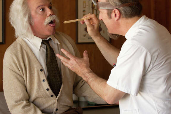"""Bob Odenkirk (right) examines David Cross in a sketch from """"With Bob and David."""""""