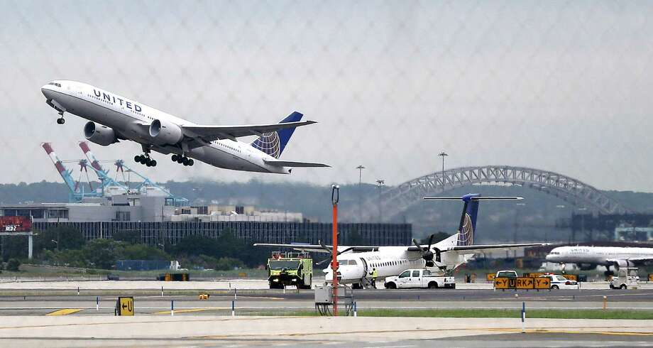 A United Airlines jetliner takes off from Newark Liberty International Airport, in Newark, N.J.  Photo: Julio Cortez, STF / AP