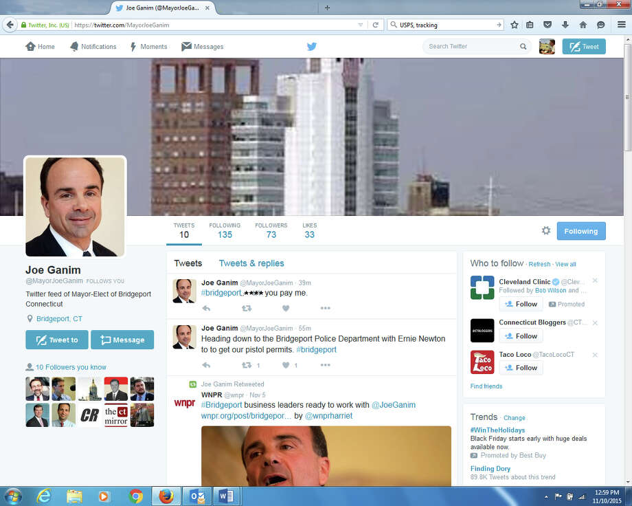 "These apparently fake ""tweets"" from a Twitter account supposedly set up for Mayor-elect Joseph Ganim appeared online Tuesday and were quickly taken down. Photo: Contributed / Contributed Photo / Connecticut Post Contributed"