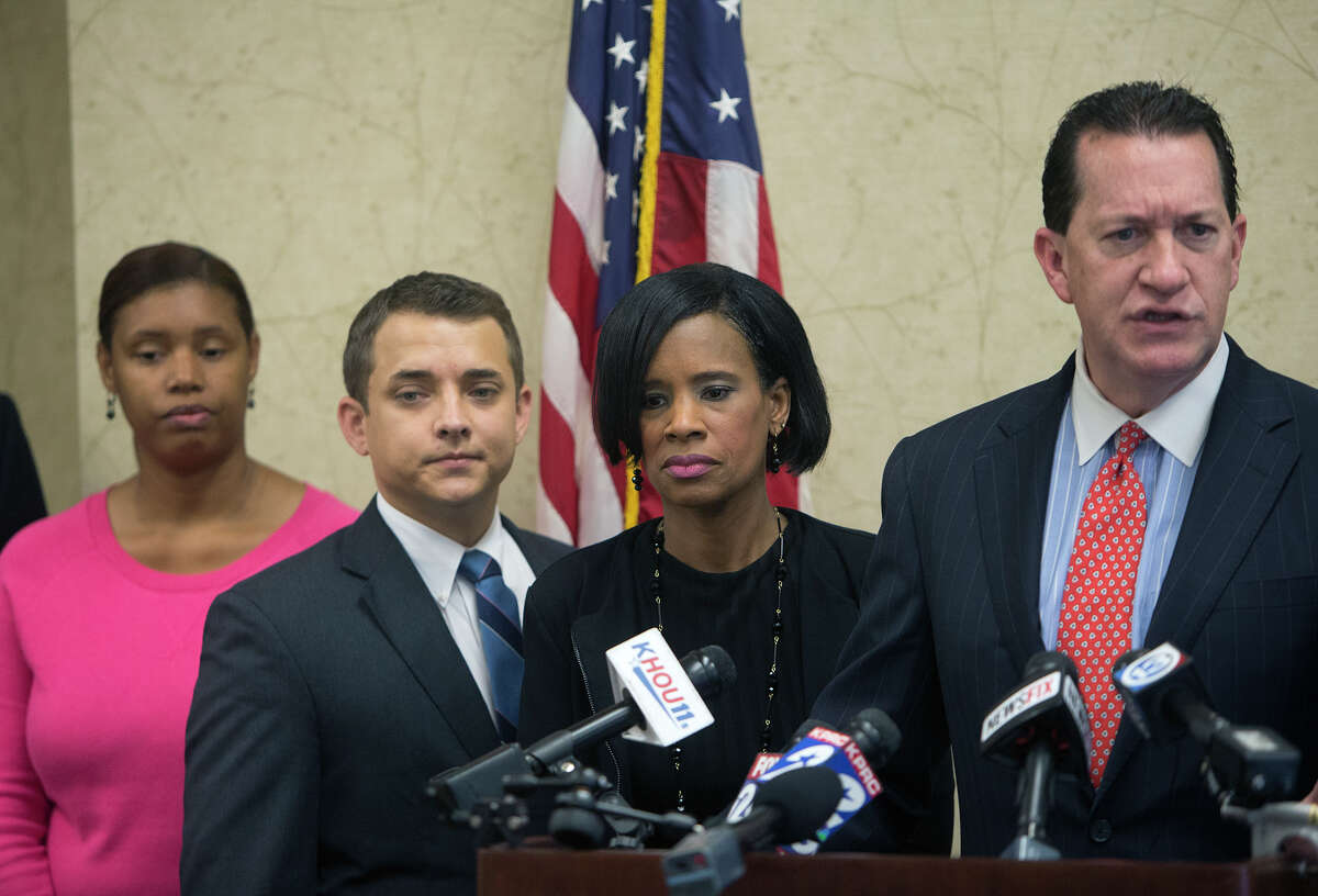 Attorney Andy Taylor speaks on behalf of his clients, Madeline Kirksey, and Akesha Wyatt, during a news conference, Tuesday, Nov. 10, 2015, in Houston. Kirksey claims she was fired from a Katy area day care center because she refused to go along with parents who made a life-changing decision for their six year old girl in the middle of the school year. She said that the parents decided the little girl was instead now a little boy, sending her to school with shortened hair and a demand for the school to change her name.