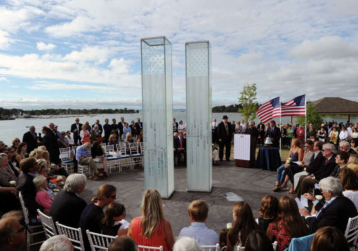 The dedication ceremony of the new September 11th Memorial in Cos Cob Park was held Sept. 11, 2015. Weatherproofing has temporarily closed the monument to the public but it is expected to be reopened by the end of next week.
