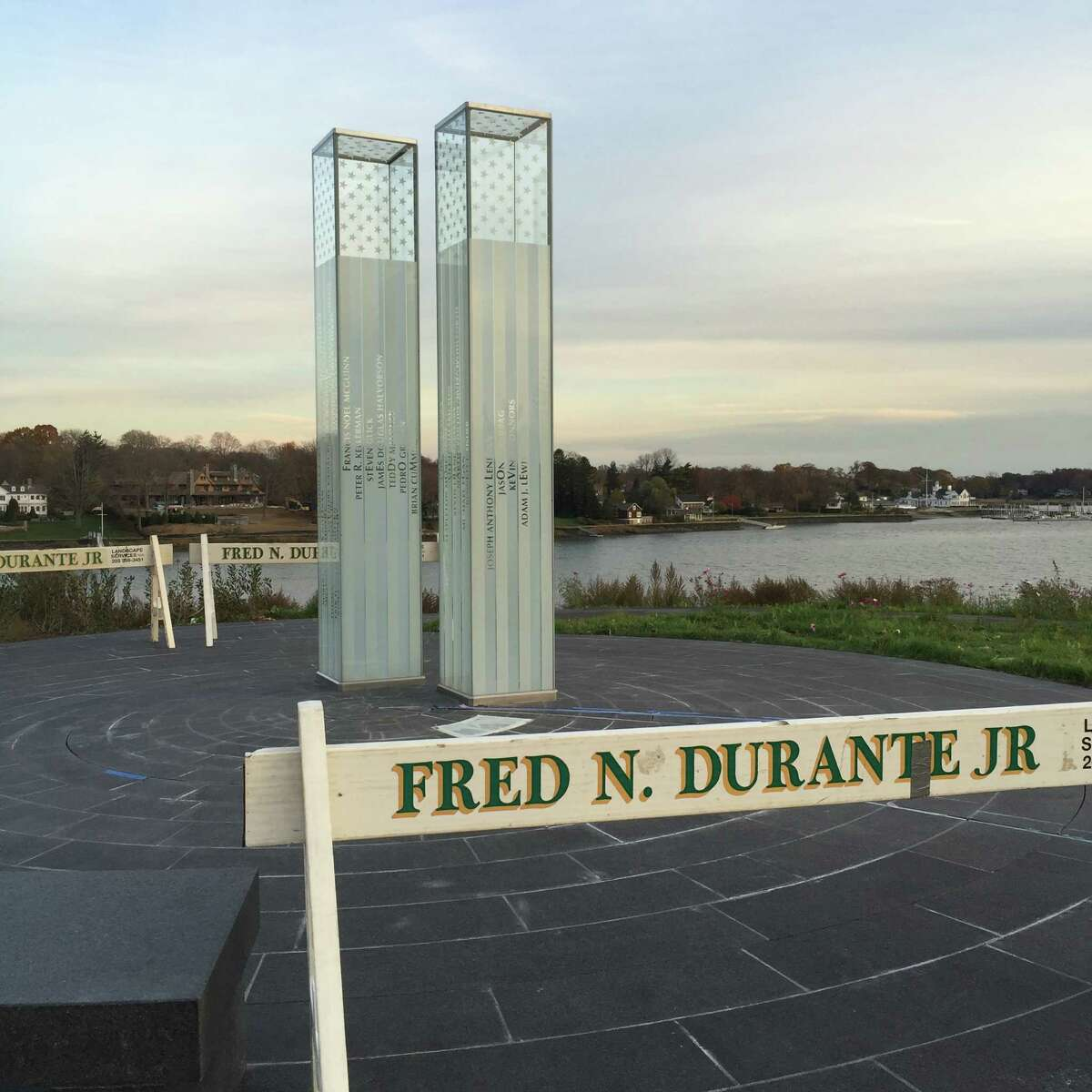 Weather-proofing work at the 9/11 Memorial in Cos Cob will extend into early next week.