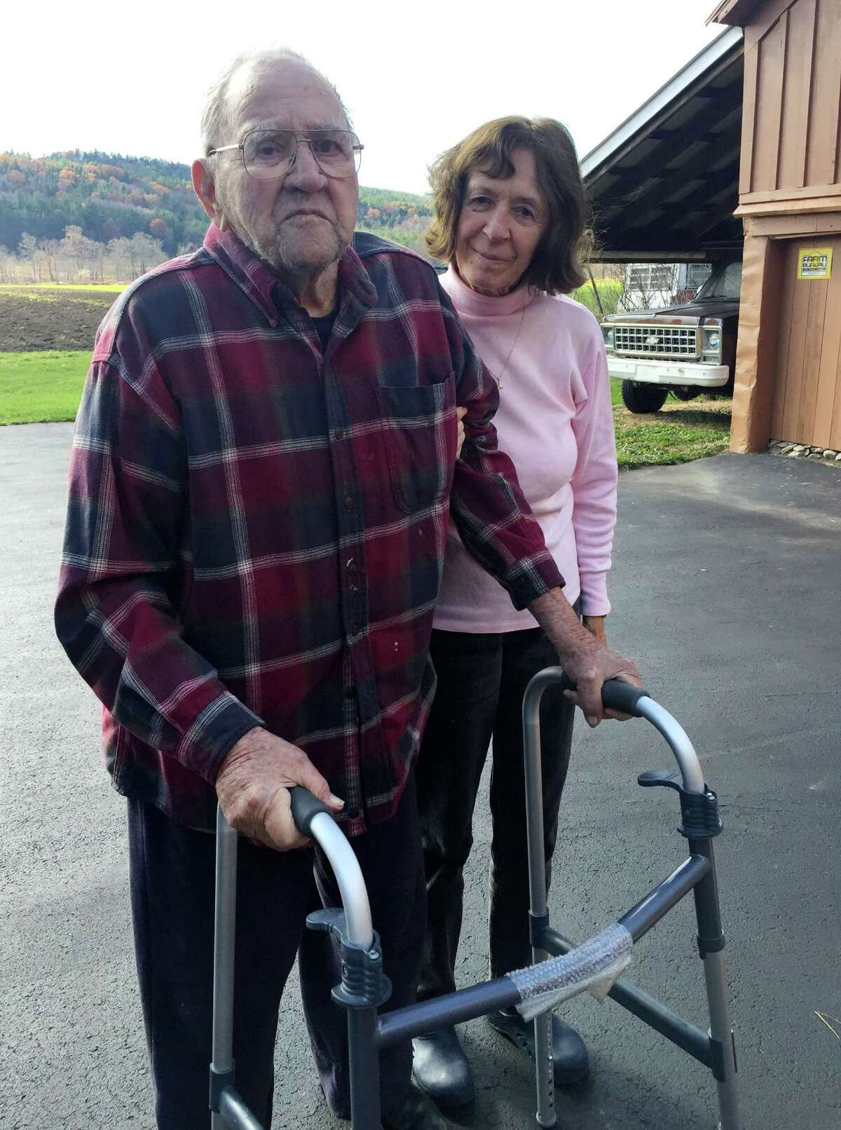 Thomas Youngs, 92, a Battle of the Bulge survivor, with his wife, Ella, at their 85-acre farm in Schoharie on Nov. 2, 2015. (Dennis YuskoTimes Union)