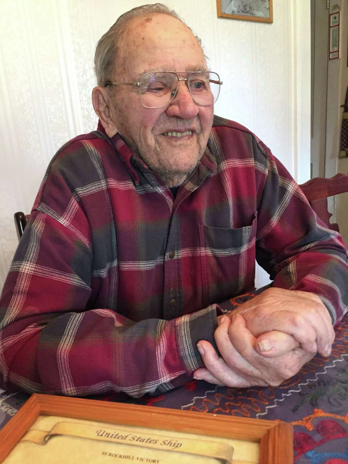 Former Army Pfc. Thomas L. Youngs, 92, a Battle of the Bulge survivor, in his Schoharie home on Nov. 2, 2015. (Dennis YuskoTimes Union)