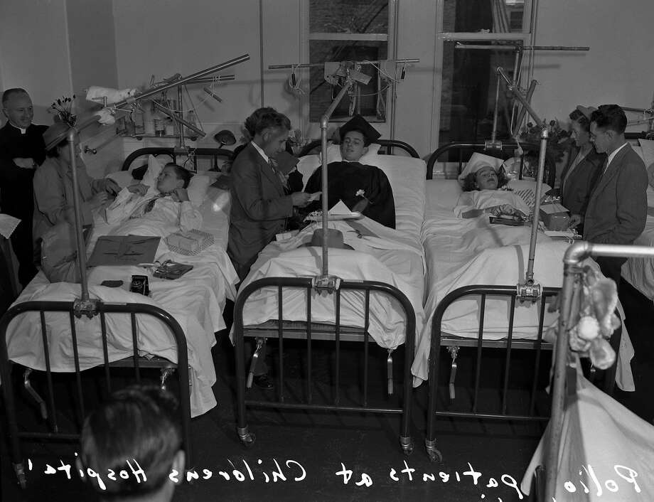Graduation ceremony for Children with Polio at Children's Hospital in 1949. Photo:  Photographer Unknown, The Chronicle
