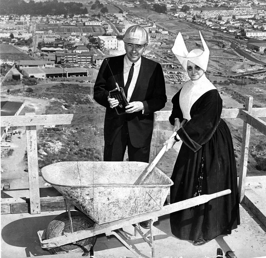 F. Pierce Lathrop and Sister Hermine at the topping off of Mary's Help Hospital in Daly City  in 1964. Photo: Barney Peterson, The Chronicle