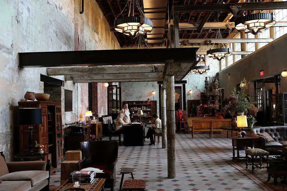 A view of the lobby of Hotel Emma. The hotel in The Pearl is in the spot that was the original brewery. It is scheduled to open Thursday. Photo: Jerry Lara /San Antonio Express-News / © 2015 San Antonio Express-News