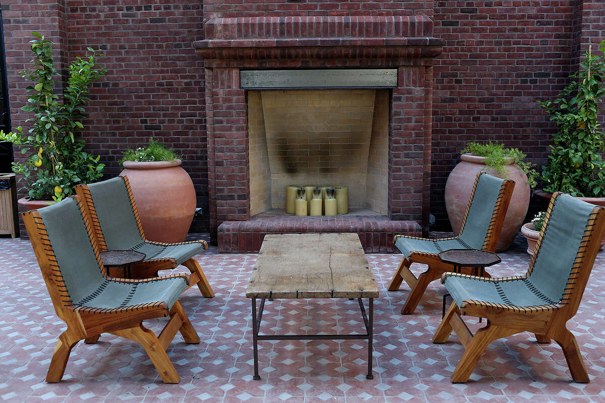 A sitting area located in the entrance patio of Hotel Emma, Monday.