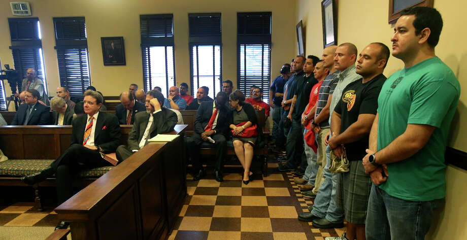 It was standing room only Tuesday November 10, 2015 at a court hearing at the Bexar County courthouse regarding a lawsuit between the city and the firefighters' union. Photo: John Davenport, Staff / San Antonio Express-News / ©San Antonio Express-News/John Davenport