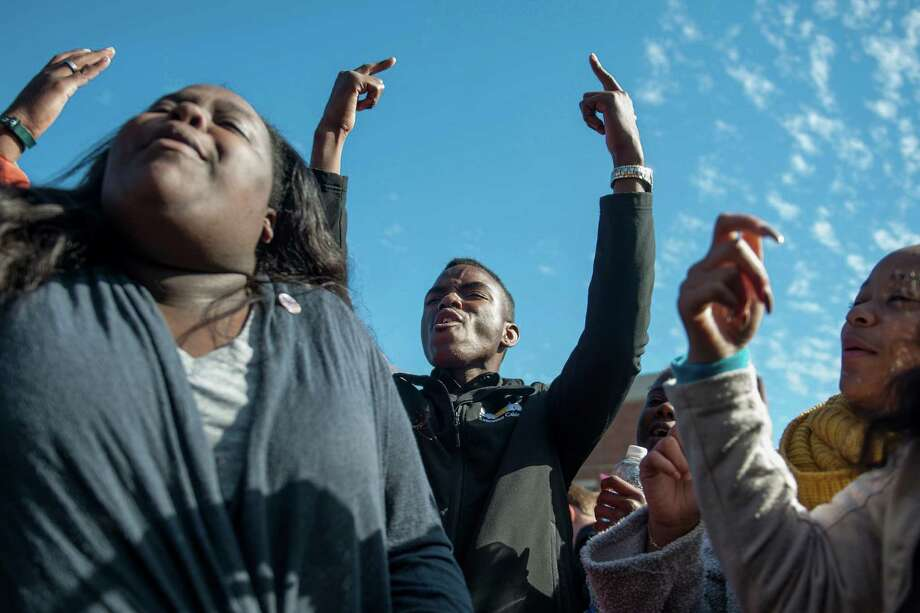 Missouri Student Association President Peyton Head rejoices after hearing news of UM System President Tim Wolfe's resignation during the Concerned Students 1950 protest on Monday, Nov. 9 2015, in Columbia, Mo. (Michael Cali/San Diego Union-Tribune/TNS) Photo: Michael Cali, MBR / McClatchy-Tribune News Service / San Diego Union-Tribune