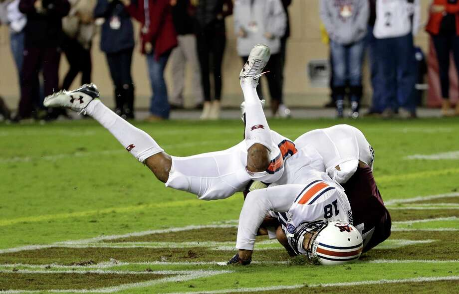 A&M has been plagued by an inability to finish drives, with this first-quarter interception in the end zone by Auburn's Carlton Davis getting the Aggies' most recent loss off on the wrong foot. Photo: David J. Phillip, STF / AP