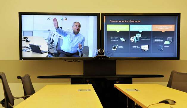 Tom Caulfield, senior vice president and general manager of GlobalFoundries Fab 8, is seen on a video conference screen from California, as he talks about the company during an interview on Monday, Nov. 9, 2015, in Malta, N.Y.  (Paul Buckowski / Times Union) Photo: PAUL BUCKOWSKI / 00034137A