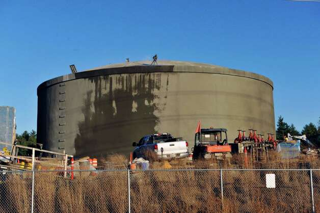 A view of one of the two water tanks being constructed that are part of the water utility project at GlobalFoundries Fab 8 on Monday, Nov. 9, 2015, in Malta, N.Y.  The tanks, which can each hold five million gallons of water, will be part  of the redundancy program at the plant.   (Paul Buckowski / Times Union) Photo: PAUL BUCKOWSKI / 00034137A