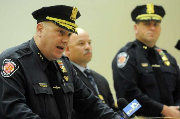 Colonie Police chief Jonathan Teale talks about the arrest of Michael Chmielewski and Sean Moreland for the killing of Jacquelyn Porreca at a press conference on Tuesday Nov. 10, 2015 in Colonie, N.Y.  (Michael P. Farrell/Times Union) Photo: Michael P. Farrell / 00034179B
