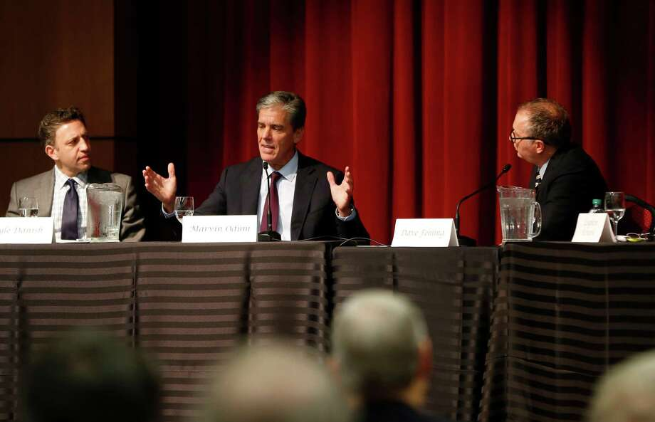 Shell Oil President Marvin Odum, center, speaks Tuesday at the University of Houston energy symposium. Photo: Karen Warren, Staff / © 2015 Houston Chronicle